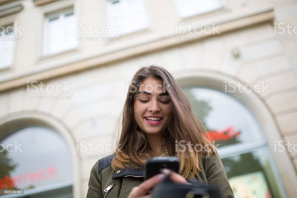 Girl in the city stock photo