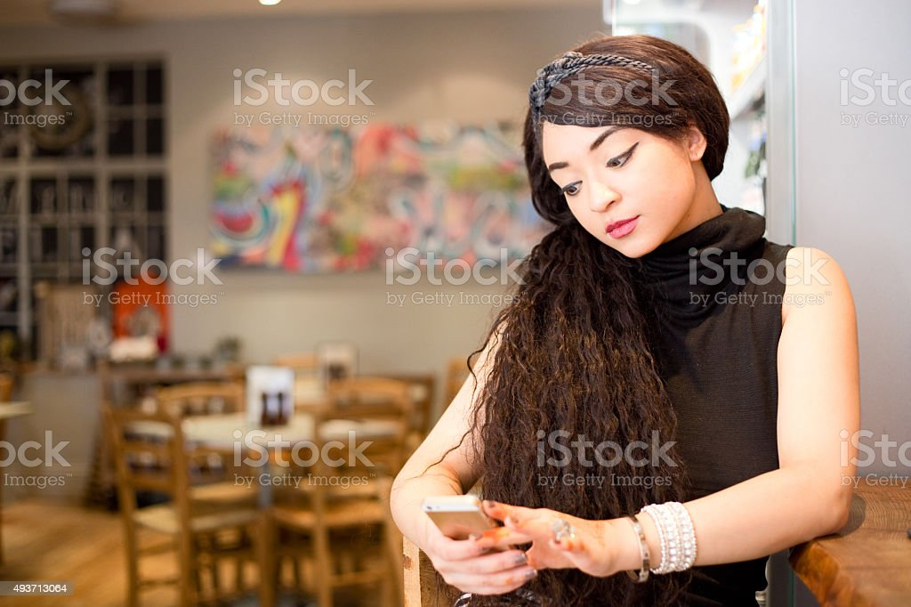 girl in the coffee shop royalty-free stock photo