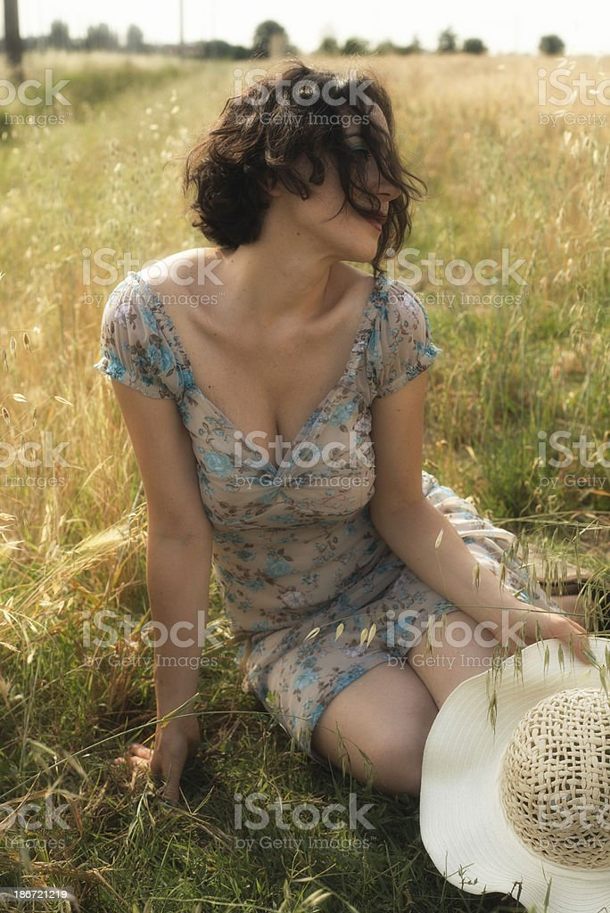 Girl in the countryside stock photo