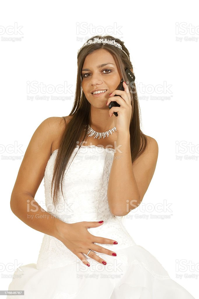 girl in the dress of  bride telephoned royalty-free stock photo