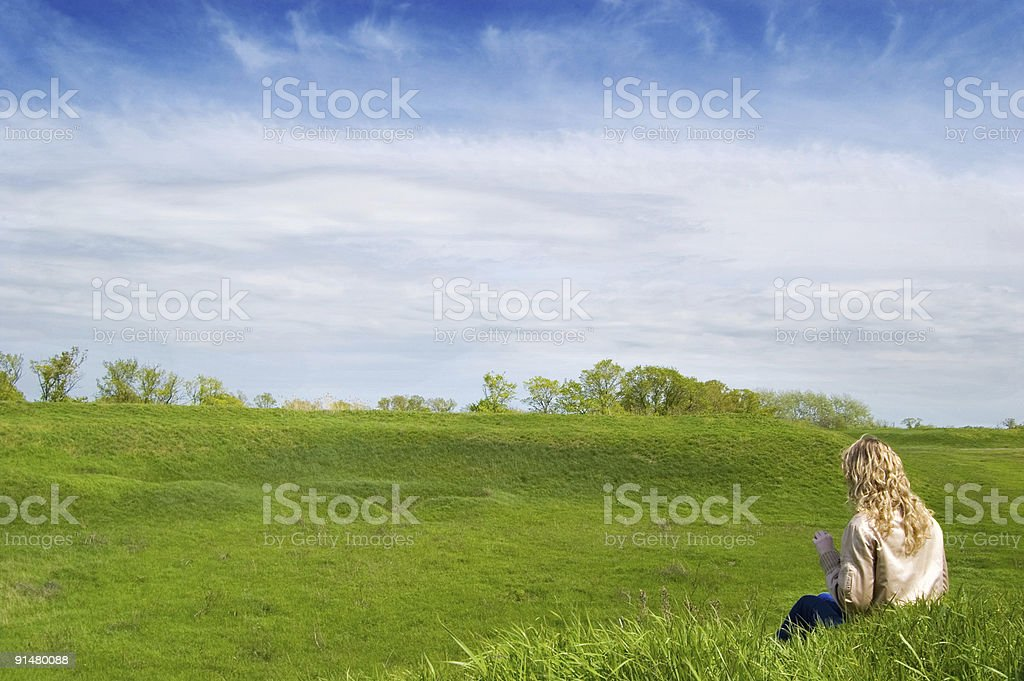 Girl in the field royalty-free stock photo