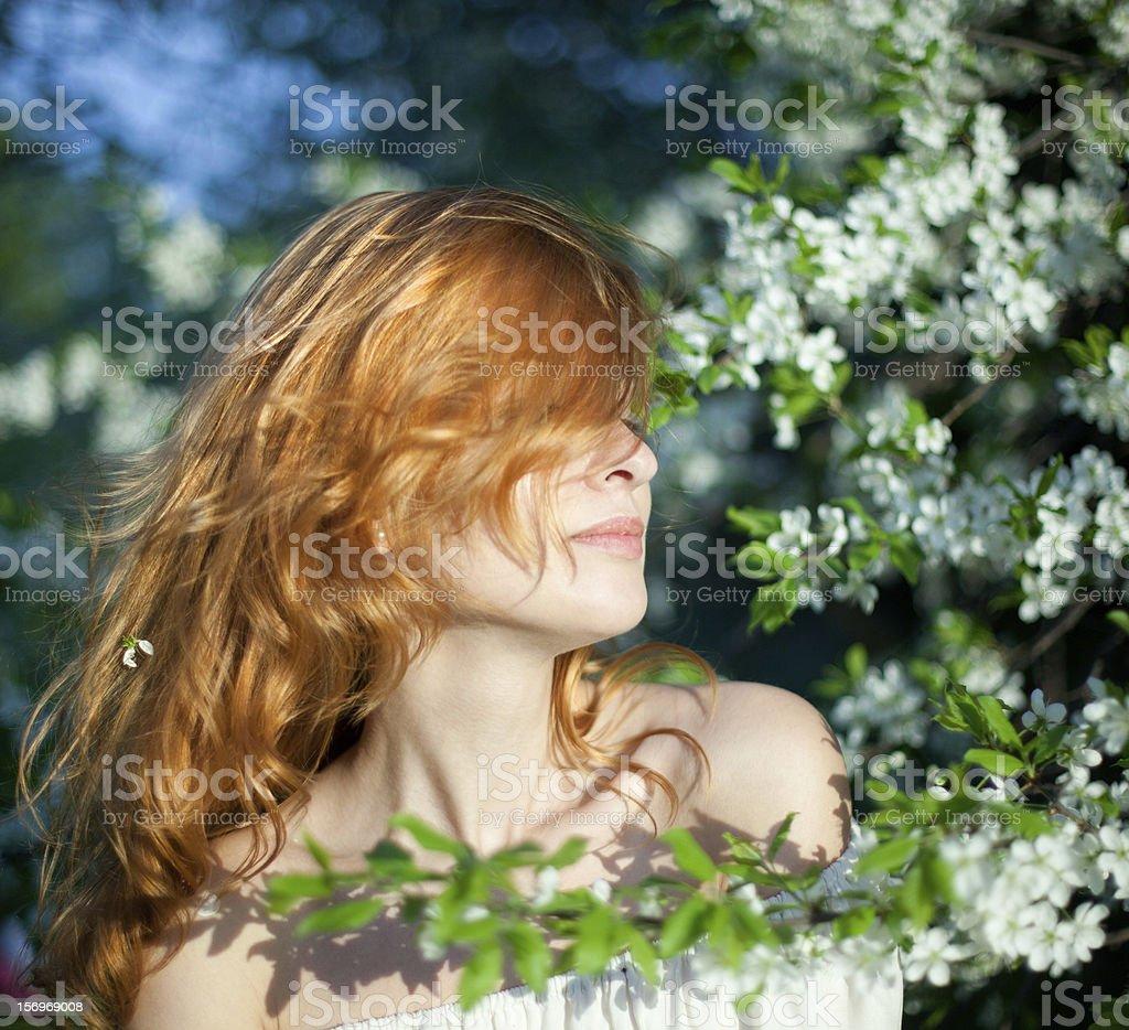 Girl in the garden royalty-free stock photo