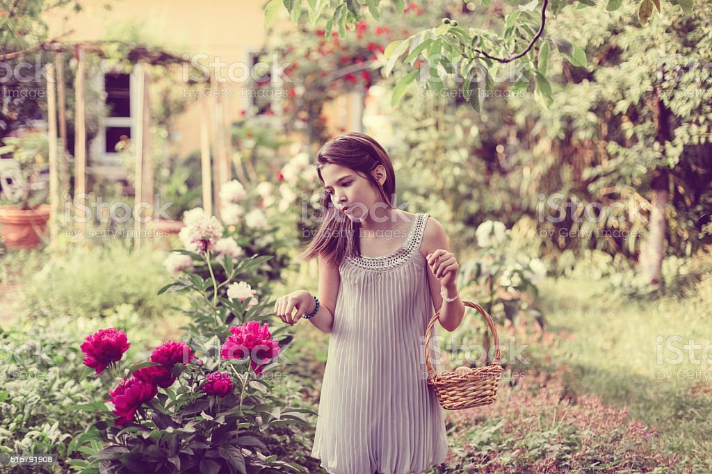 Girl in the garden with basket full of eggs stock photo