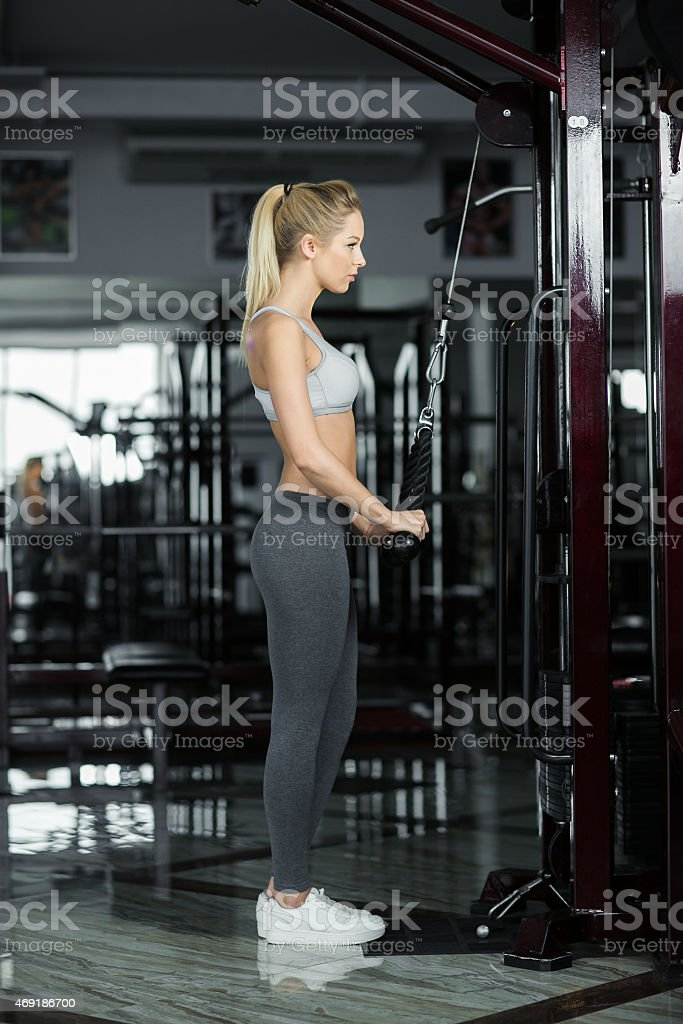 girl in the gym stock photo