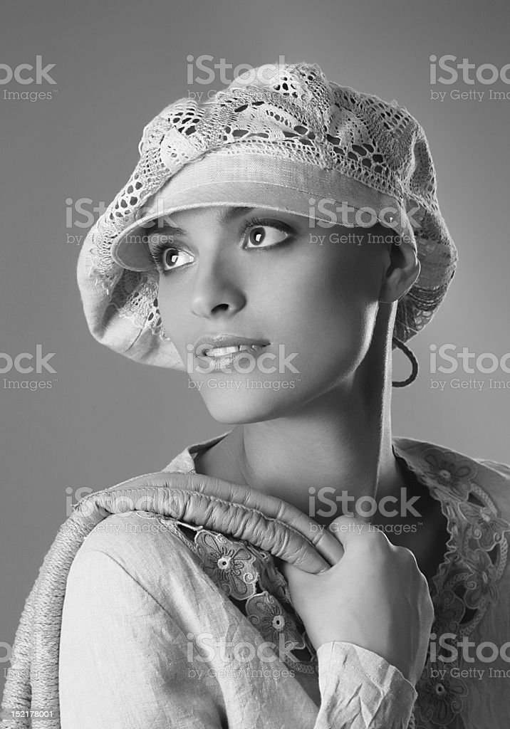 girl in the hat royalty-free stock photo