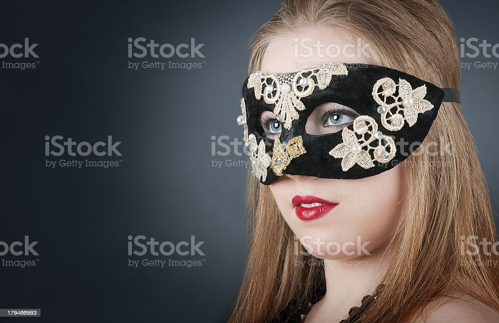 Girl in the mask royalty-free stock photo