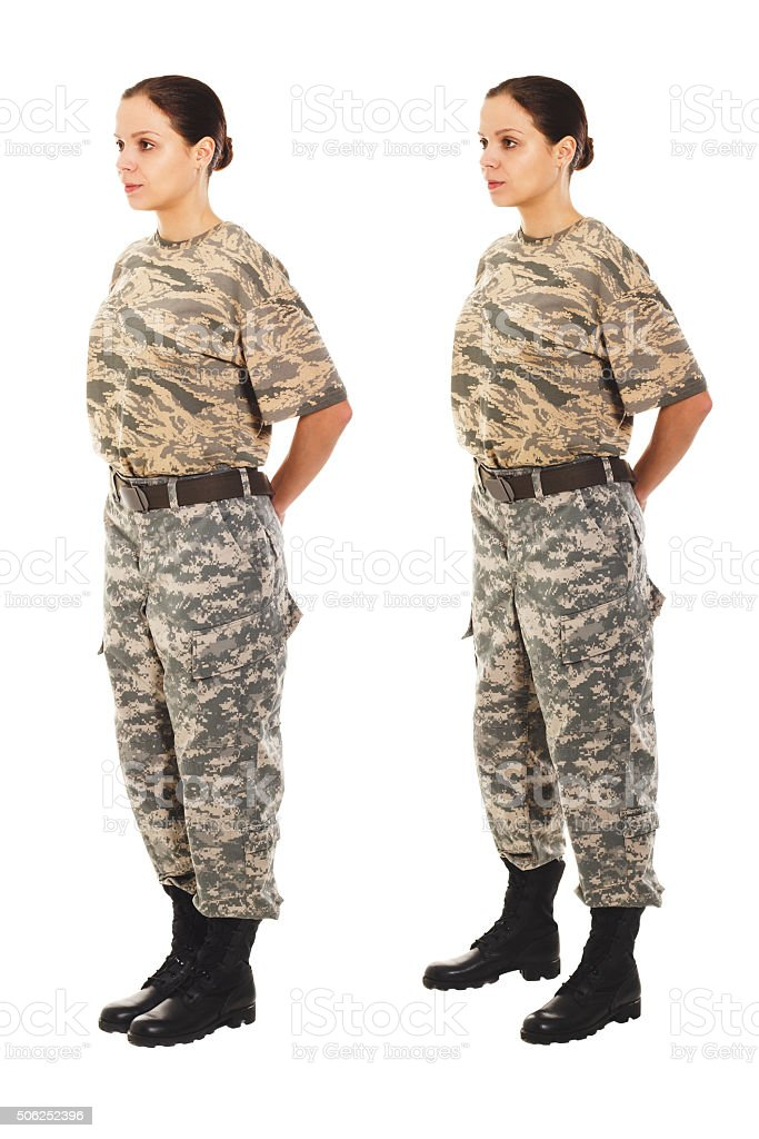 Girl in the military uniform stock photo