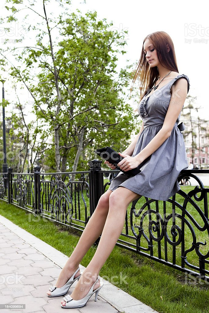 Girl in the Park read e-books royalty-free stock photo
