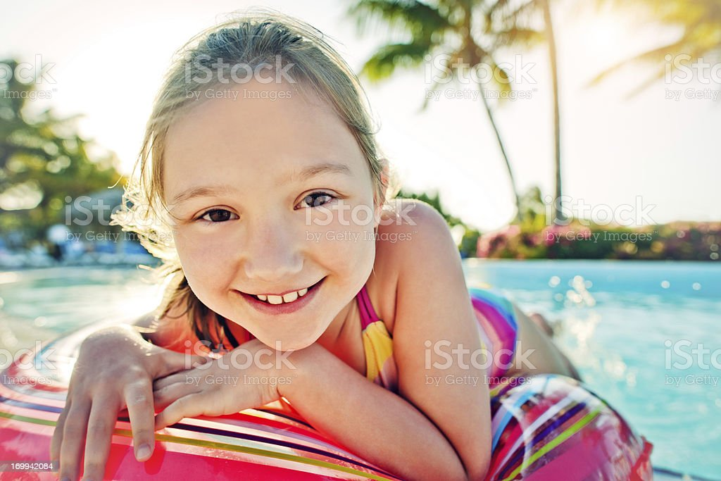 Girl in the pool royalty-free stock photo