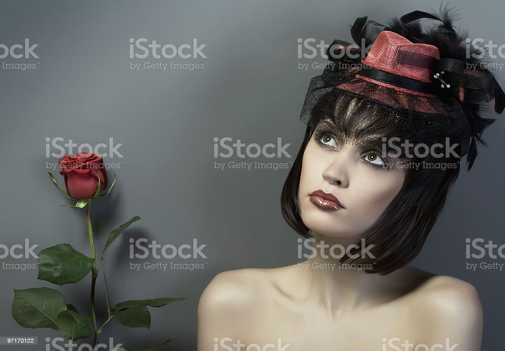Girl in the red cap. stock photo