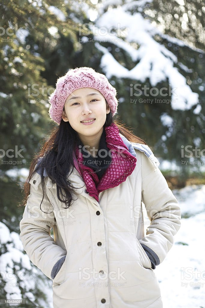 Girl in the snow field royalty-free stock photo