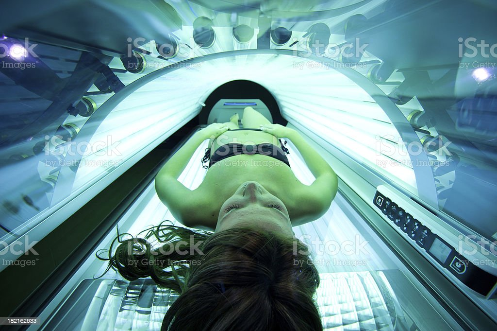 girl in the solarium stock photo