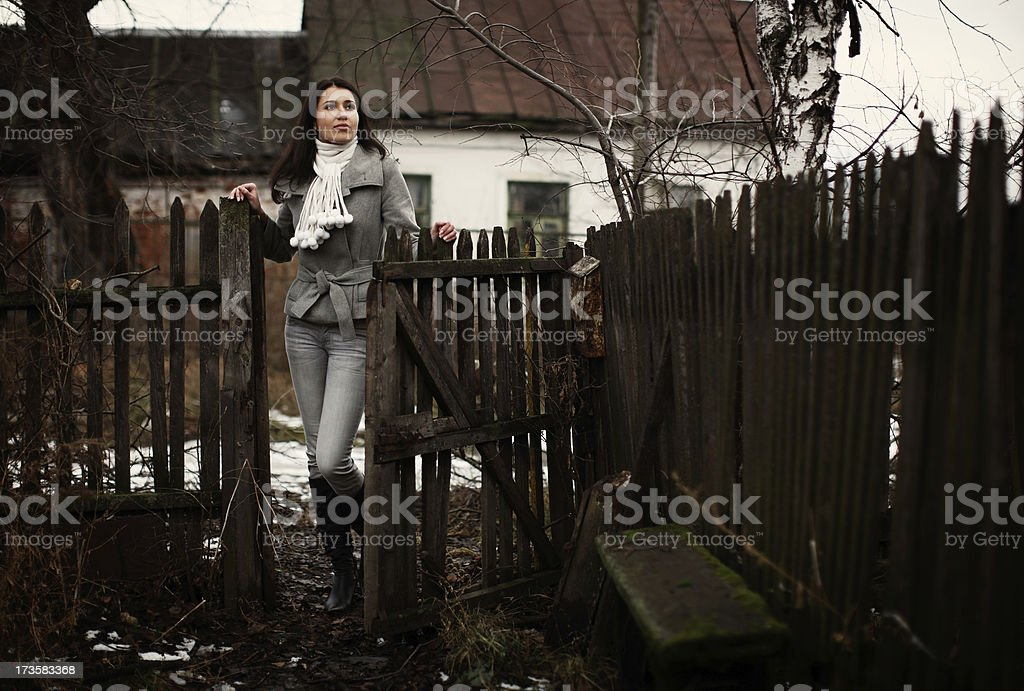 Girl in the village royalty-free stock photo