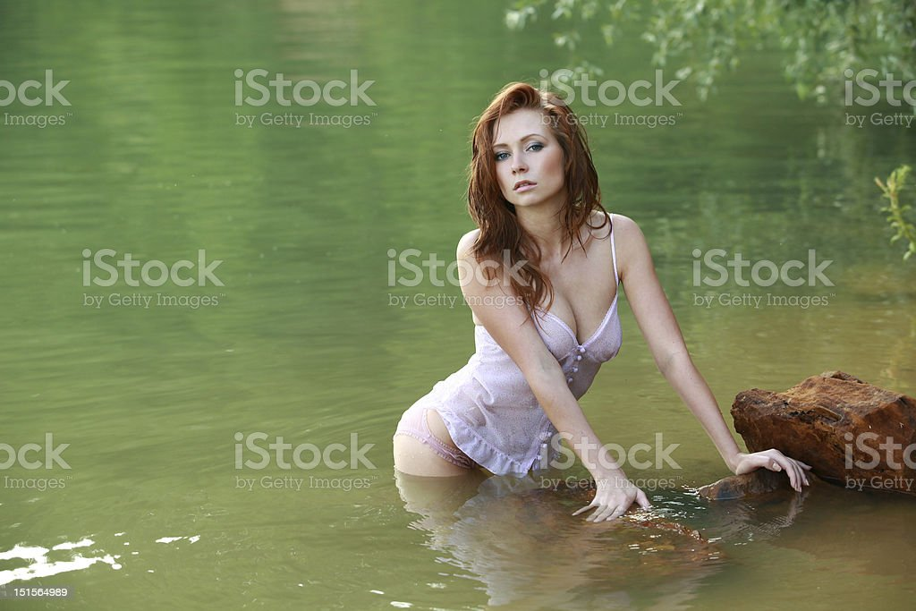 Girl in the water royalty-free stock photo