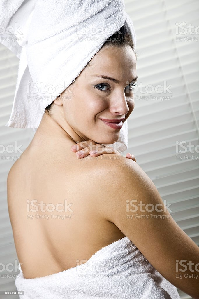 Girl in towel royalty-free stock photo