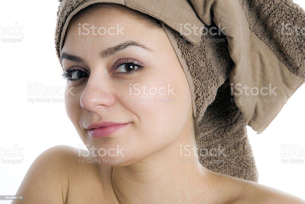 Girl in towel stock photo
