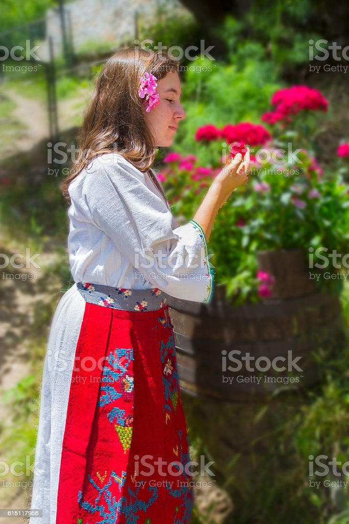 Girl in traditional macedonian clothes royalty-free stock photo