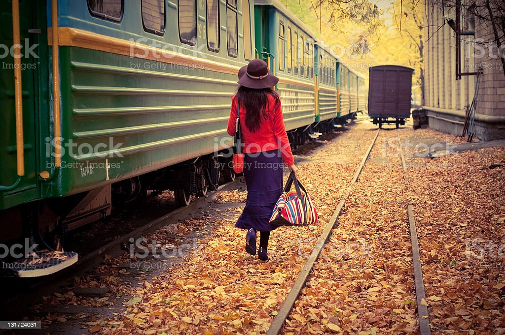 girl in train stock photo