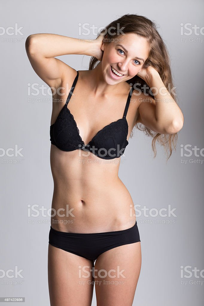 Girl in underwear stock photo