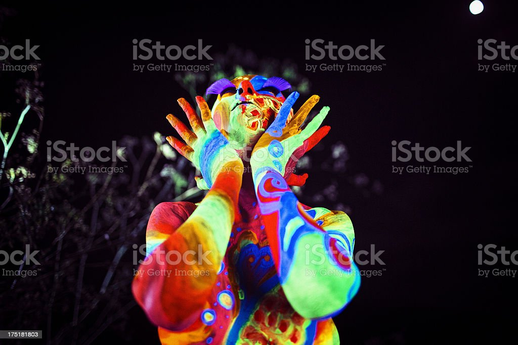 Girl in UV Body paint stock photo