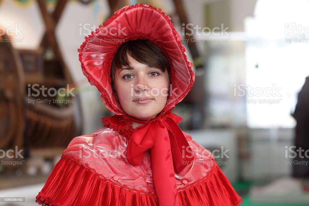 Girl in victorian dress stock photo