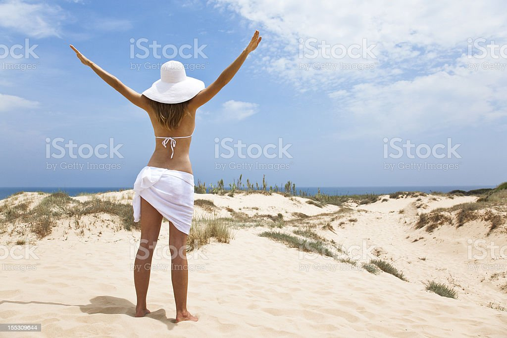 girl in white by the sea royalty-free stock photo