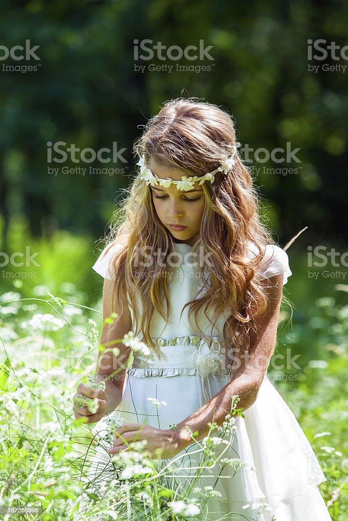 Fille en robe blanche cueillir des fleurs. photo libre de droits