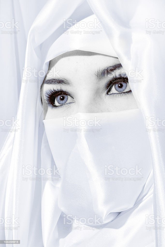 Girl in white face veil royalty-free stock photo