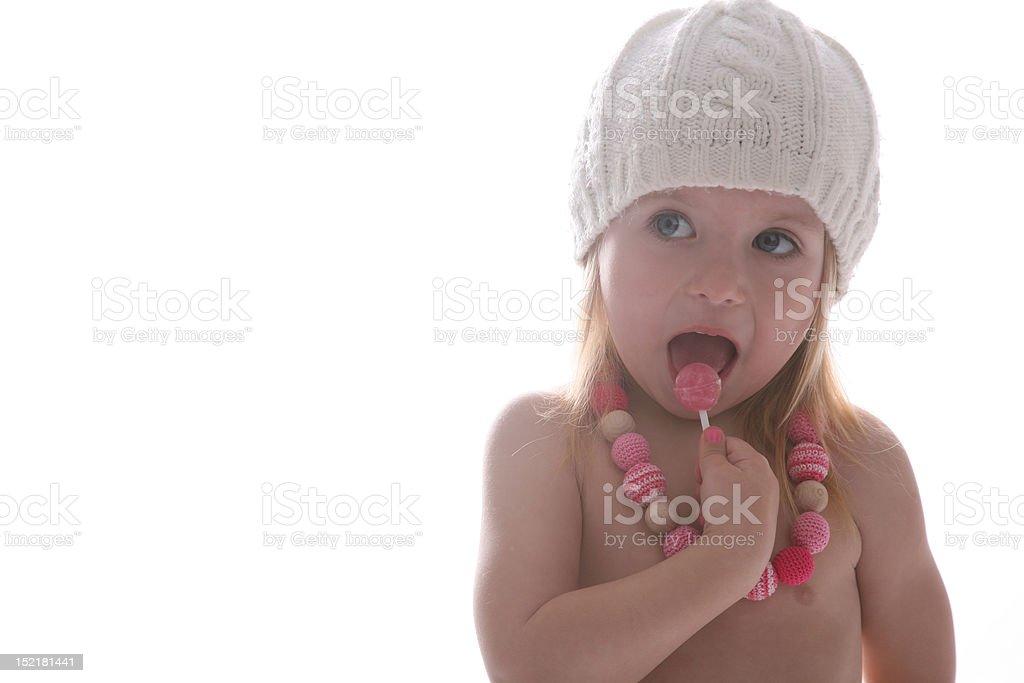 Girl in white hat stock photo