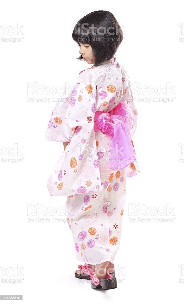 Girl in white kimono stock photo
