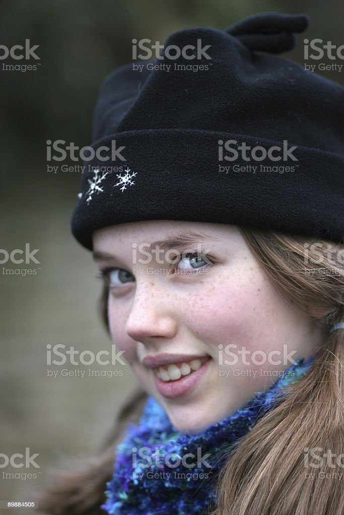 Girl in winter hat royalty-free stock photo