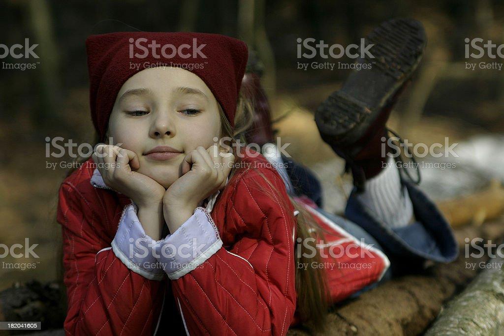 girl in wood stock photo