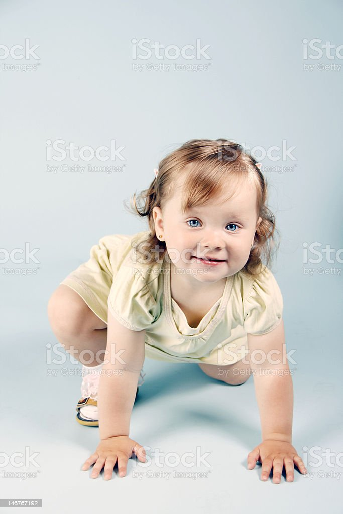 Girl in yellow dress royalty-free stock photo