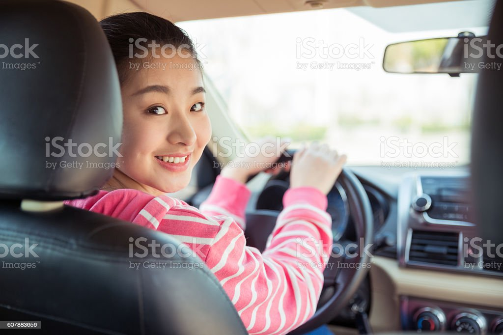 girl is a commercial driver stock photo