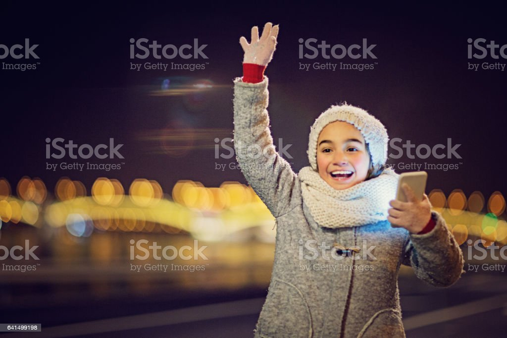 Girl is beckoning her family stock photo
