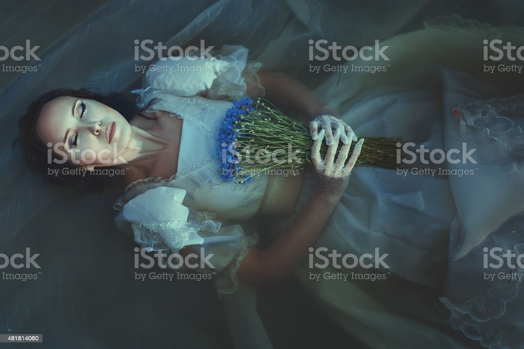 Girl is drowned under water. stock photo