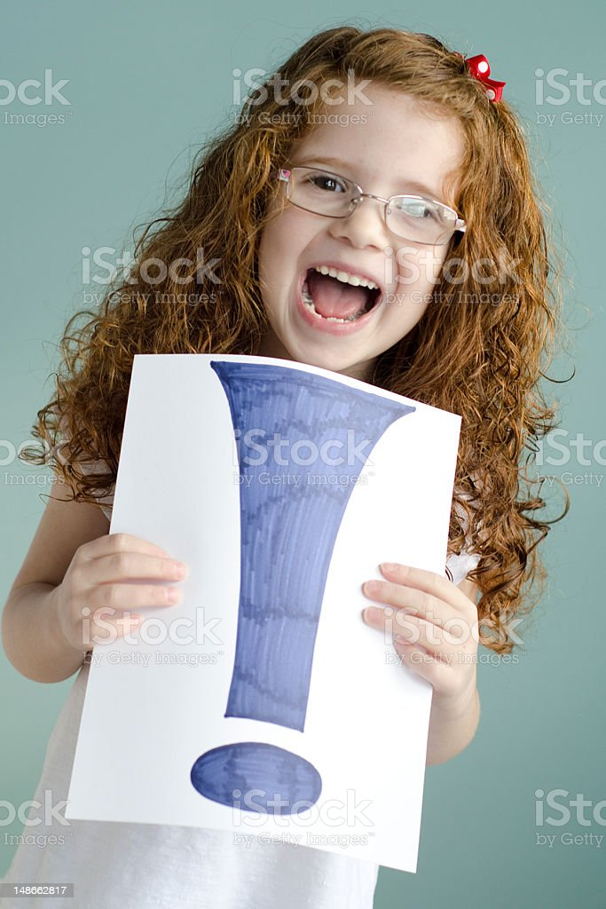 girl is excited with exclamation mark royalty-free stock photo