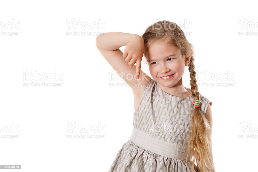 girl is gesticulating by a finger down stock photo