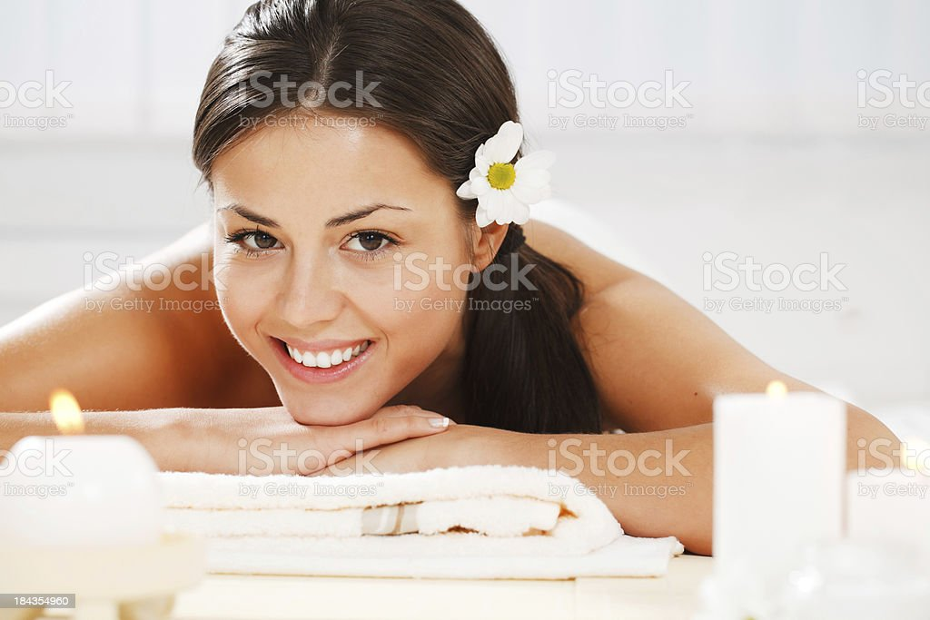 Girl is having a relaxation therapy in spa. royalty-free stock photo