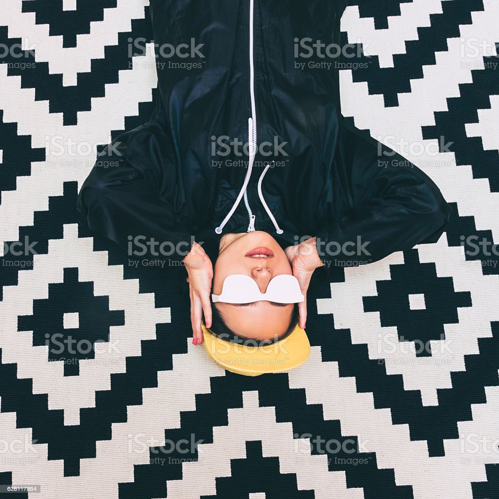 girl is lying upside down stock photo