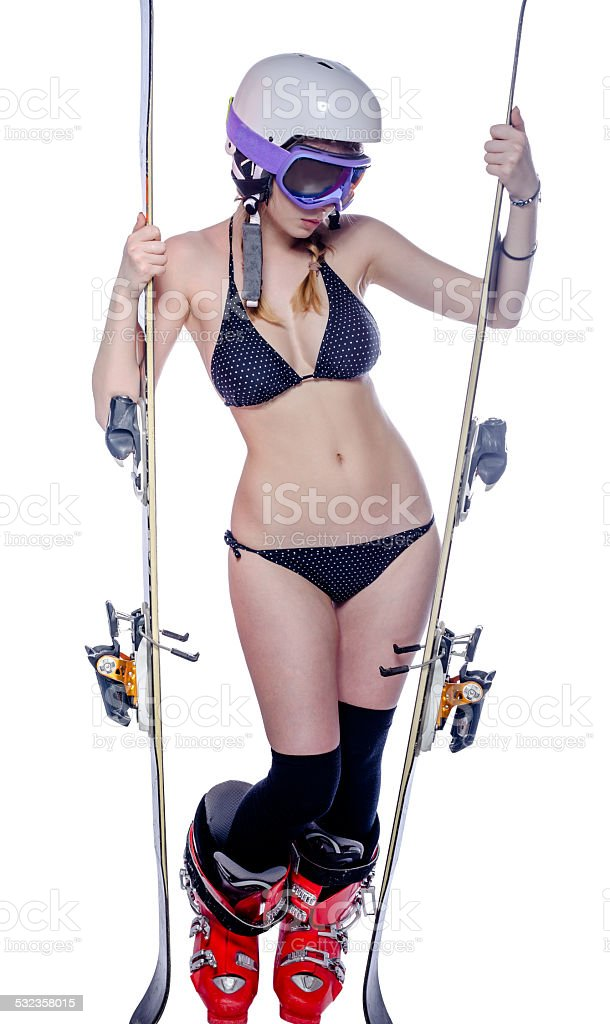 Girl is posing with ski stock photo