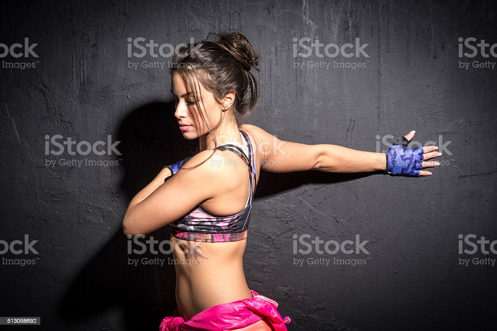 Girl is preparing for training stock photo