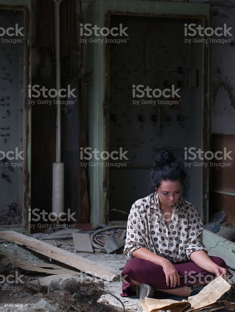 girl is reading stock photo