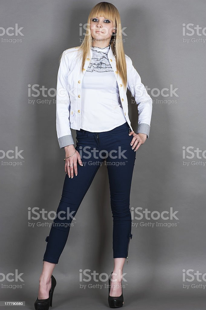 girl is standing at full length royalty-free stock photo