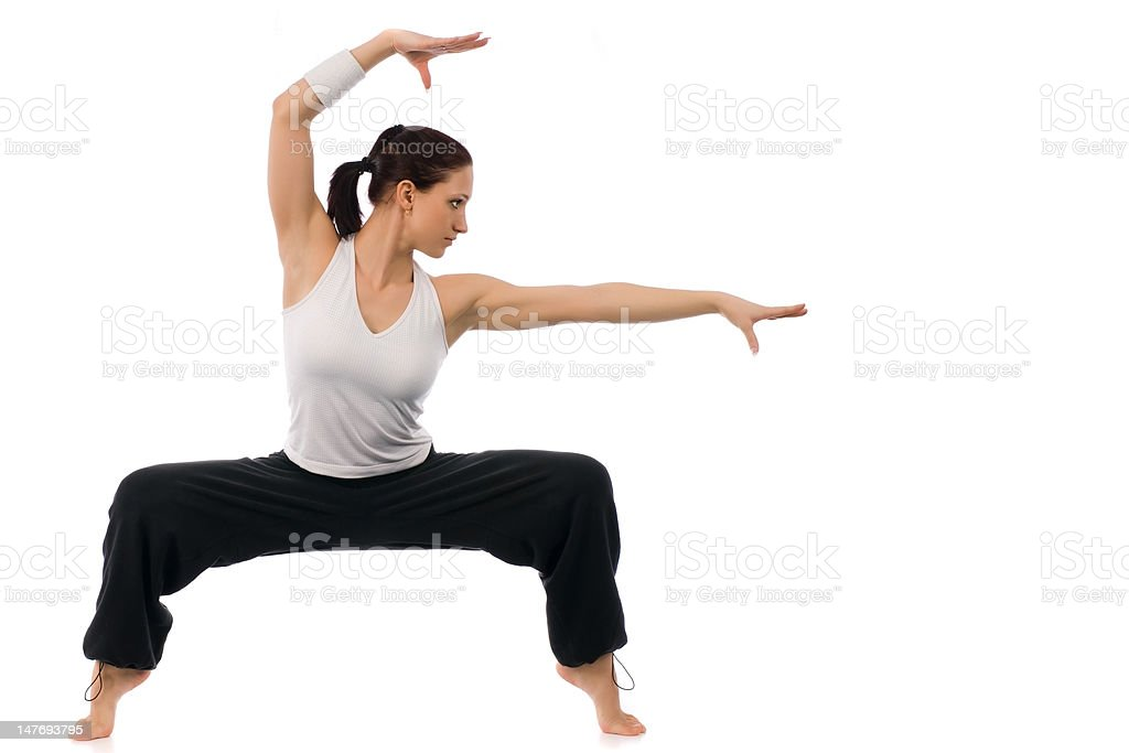 Girl is working out stock photo