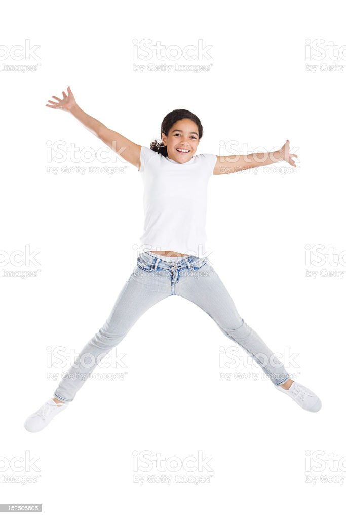 girl jumping high royalty-free stock photo