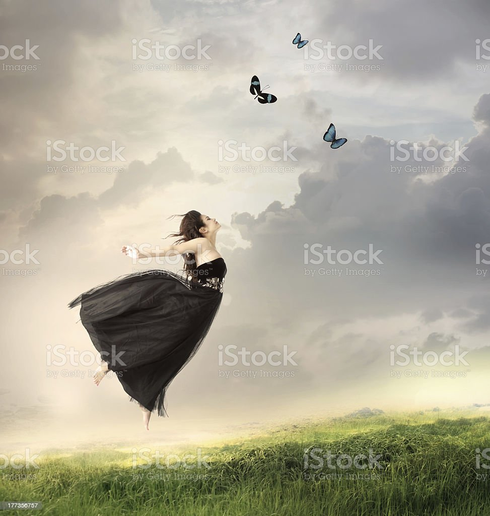 Girl Jumping in the Air royalty-free stock photo