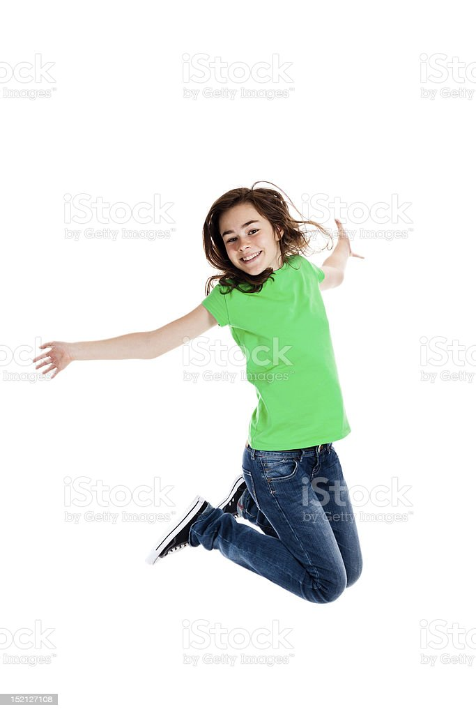 Girl jumping isolated on white background royalty-free stock photo