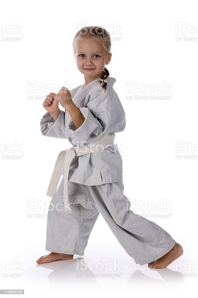 girl - karateka in kimono royalty-free stock photo