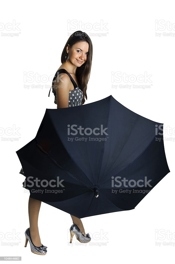 girl keep the open umbrella stock photo